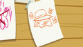 A sheet of paper showing bees and a beekeeper hat S6E4.png