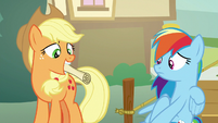 Applejack giving a list to Rainbow Dash S8E5