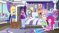 Equestria Girls looking at Applejack EGS1