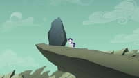 Filly Rarity staring at giant rock S5E25