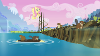 Fluttershy talking to mesmerized beavers S03E10