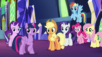 Main ponies looking over at Spike S8E2