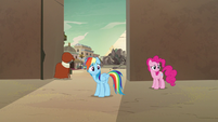 Rainbow Dash and Pinkie Pie watch A. K. run away S7E18
