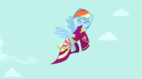 Rainbow Dash trying to pull dress off S4E23