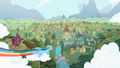 Rainbow Dash zooming over Ponyville S2 Opening.png