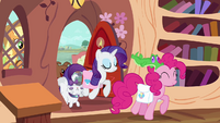 Rarity and Pinkie arrive with their pets S03E11