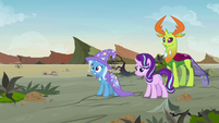 Starlight, Trixie, and Thorax find Pharynx S7E17