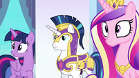 Twilight, Shining Armor, and Cadance hear Spike S6E16