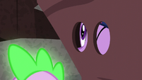 Twilight looking through the eyehole on the --rock-- S6E5