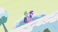 Twilight trotting to the top of a hill S1E11