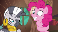 Zecora looking slyly at Pinkie Pie S7E19