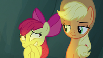 Apple Bloom muffling her excited squeals S7E16
