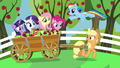 Applejack and friends on apple cart ride S7E2.png