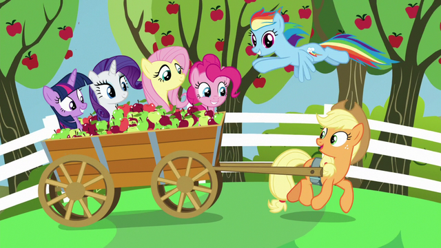 File:Applejack and friends on apple cart ride S7E2.png