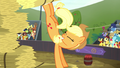 Applejack kicks a hay bale upward S5E6.png