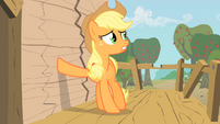 Applejack putting hoof on wall S1E18