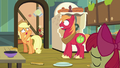 Applejack tosses pear jam to Big Mac S7E13.png