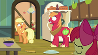 Applejack tosses pear jam to Big Mac S7E13