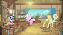 Elderly ponies in woodworking class S9E5