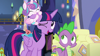 Flurry Heart noms on Twilight Sparkle's ear S7E3
