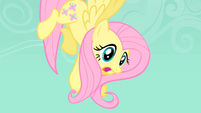 Fluttershy being suspended in the air by a Diamond dog S1E19