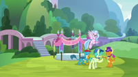 Gallus, Sandbar, Silverstream, and Yona at a party S9E7
