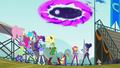 Main six and Twilight look at rift to Equestria EG3.png