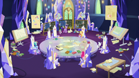 Mane Six and Spike in the throne room S9E4