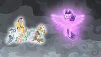 Pillars of Equestria float beside Twilight S9E25