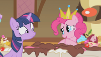 Pinkie Pie and the remains of the cake S1E10