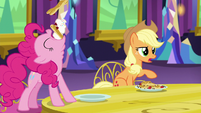Pinkie Pie scarfing down her pancakes S5E3