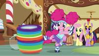 Pinkie Pie spins Rainbow Dash around S5E21