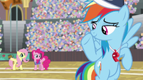 Rainbow waving at Fluttershy and Pinkie S9E6