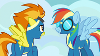 Spitfire complimenting Rainbow Dash S7E23