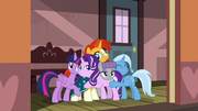 Starlight and her friends in a big group hug S7E24
