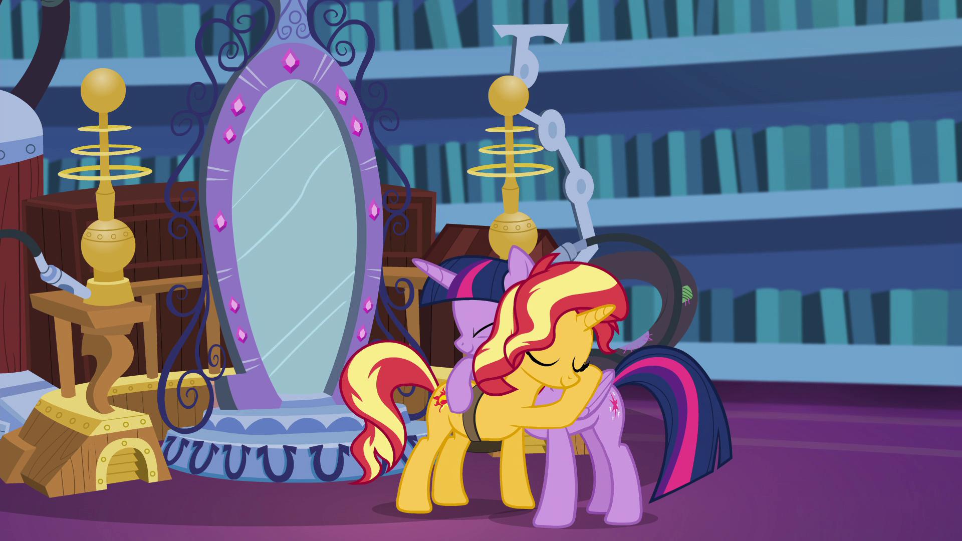 Image - Twilight Sparkle and Sunset Shimmer hugging EGFF