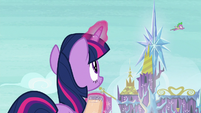 Twilight observes Spike's flying S8E24