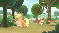 AJ looks at schedule; Apple Bloom sets a trap S9E10