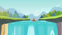 Apple family raft approaching waterfall S4E09