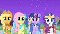 "Applejack, Fluttershy, Twilight, and Rarity ""find my prince"" S01E26"