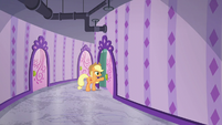 Applejack opening a spa door S6E10