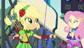 Applejack satisfied; Fluttershy clapping EG3.png