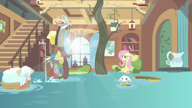 File:Discord poofing Fluttershy's house clean S7E12.png
