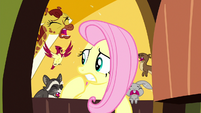 Fluttershy surrounded by crying animals S8E18