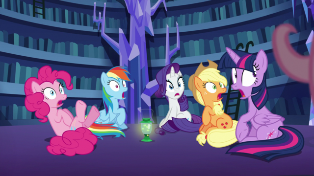File:Mane 5 startled by Fluttershy's presence S5E21.png