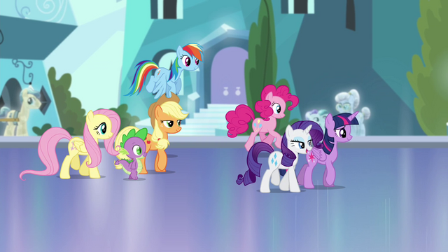 File:Mane 6 and Spike continue walking S4E25.png
