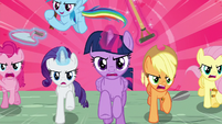Mane Six charging with gardening tools S9E2