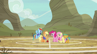 Ponyville buckball teams on Appleloosa practice field S6E18