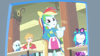 Rainbow Dash pointing at the camera EG