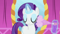 Rarity using hairspray on her mane MLPS1